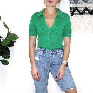 Anthropologie Moth Green Ribbed Sweater Shirt